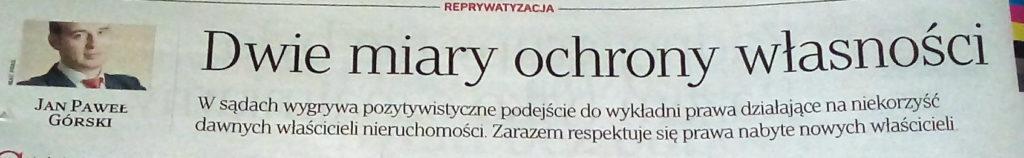 Rzeczpospolita adwokat Jan Górski artykuł media reprywatyzacja zasiedzenie